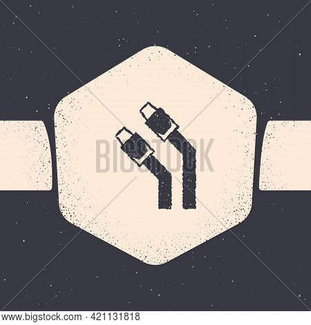 Grunge Lan Cable Network Internet Icon Isolated On Grey Background. Monochrome Vintage Drawing. Vect