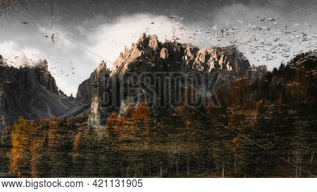 Summit of the Dolomites in the early morning