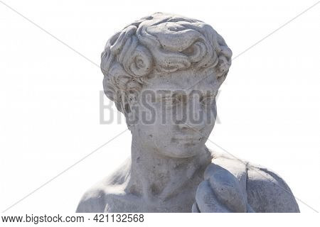 Ancient man's bust stone sculpture on white background. art and classical style romantic figurative stone sculpture.
