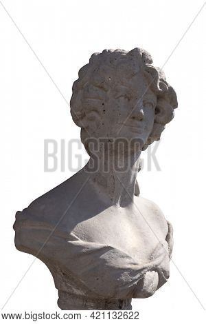 Close up of stone sculpture of woman's bust on white background. art and classical style romantic figurative stone sculpture.