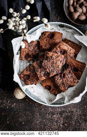 Freshly baked homemade chocolate brownies