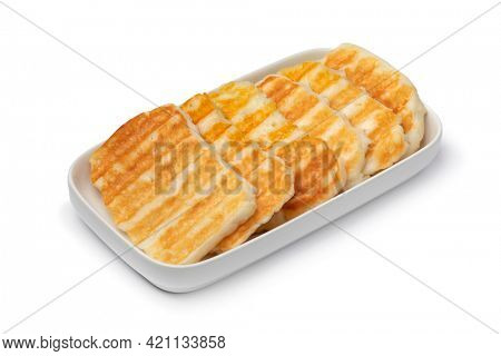 Mediterranean tasty grilled halloumi cheese close up isolated on white background