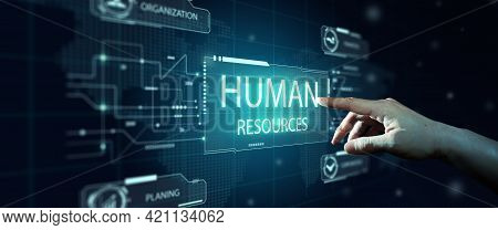 Hr Futuristic And Officer Hand With Blue Abstract Background. Human Resources, Hr Management, Recrui