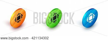 Isometric Computer Processor With Microcircuits Cpu Icon Isolated On White Background. Chip Or Cpu W
