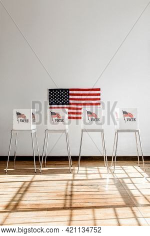 US flag democracy voting booth