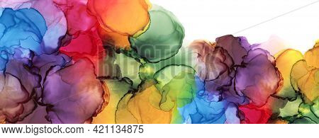 Abstract bubble blot watercolor rainbow color paintting horizontal long background. Marble alcohol ink.