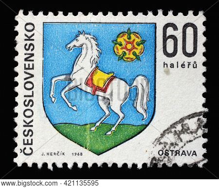 ZAGREB, CROATIA - SEPTEMBER 18, 2014: Stamp printed in Czechoslovakia shows coat of arms of Ostrava, circa 1968