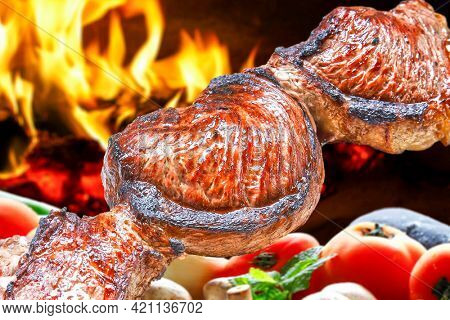 Steak rotisserie at the steakhouse, sliced picanha