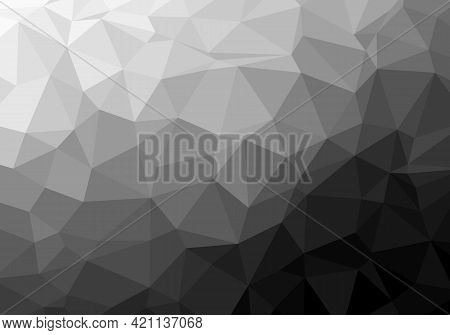 Abstract Background Pattern. Geometric Low Polygonal Pattern, White Gray Black Gradient. Texture Des