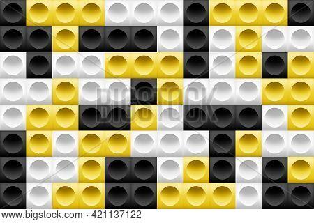 Seamless Geometric Pattern Background. 3d Blocks, Squares And Circles, Yellow, White, Black Gradient