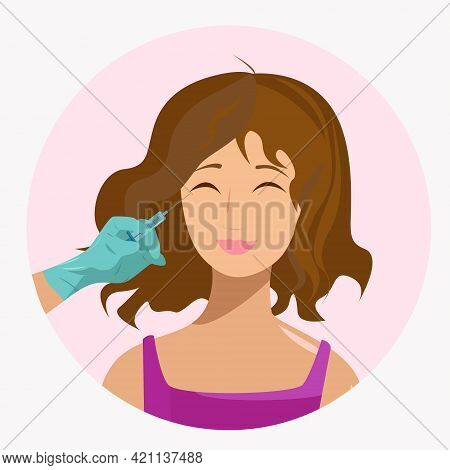 A Woman Is Given An Injection To Rejuvenate Her Face. A Hand With A Syringe Makes An Injection. Woma