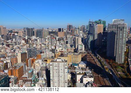 Tokyo, Japan - December 2, 2016: Cityscape View Of Hibiya District In Chiyoda Ward And Shimbashi Dis