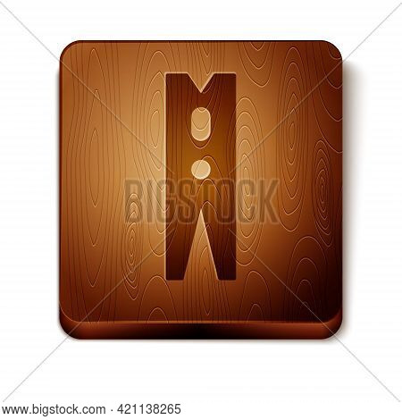Brown Old Wood Clothes Pin Icon Isolated On White Background. Clothes Peg. Wooden Square Button. Vec