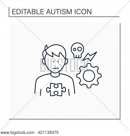 Neurodevelopmental Disorder Line Icon.self Abusive Behaviors. Physical Injury.head-hitting, Banging,