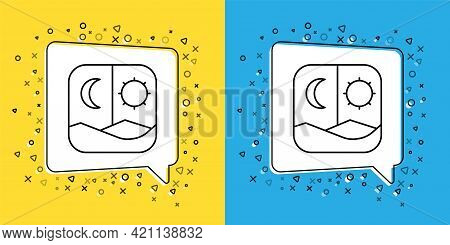 Set Line Ramadan Fasting Icon Isolated On Yellow And Blue Background. Fast Day And Night. Religious