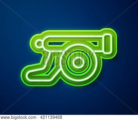Glowing Neon Line Ramadan Cannon Icon Isolated On Blue Background. Vector