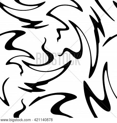 Seamless Abstract Pattern With Black Shabby Lines On White Background. Geometric Background. Vector