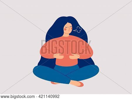 Woman Makes Breathing Exercise. Girl Sits On The Floor In Pose Lotus And Makes A Deep Inhalation. Re