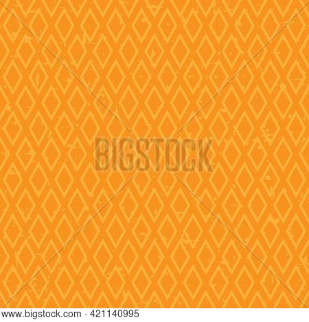 Seamless Pattern With Blue And Turquoise Rhombus. Ethnic Symmetric Background. Modern Pattern. Geome