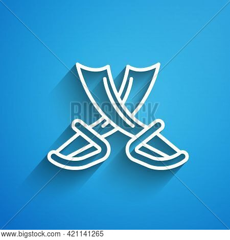 White Line Crossed Pirate Swords Icon Isolated On Blue Background. Sabre Sign. Long Shadow. Vector