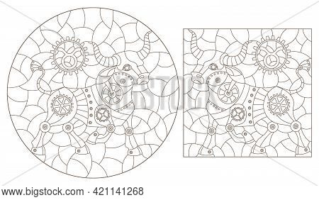 Set Of Contour Illustrations In The Style Of Stained Glass With Steam Punk Signs Of The Zodiac Tauru
