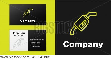 Logotype Line Gasoline Pump Nozzle Icon Isolated On Black Background. Fuel Pump Petrol Station. Refu