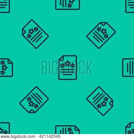 Blue Line Declaration Of Independence Icon Isolated Seamless Pattern On Green Background. Vector