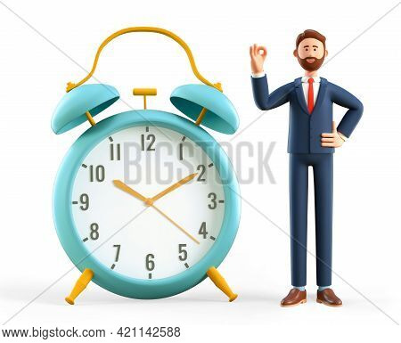 3d Illustration Of Smiling Man Showing Ok Gesture And Standing Next To A Huge Vintage Alarm Clock. B