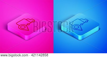 Isometric Line Delivery Tracking Icon Isolated On Pink And Blue Background. Parcel Tracking. Square