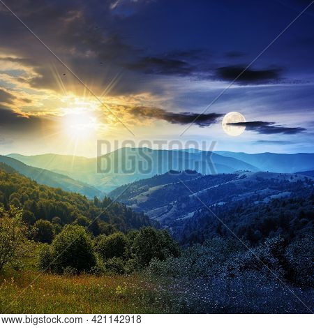 Day And Night Time Change Concept Above Countryside Landscape. Beautiful Nature Scenery With Meadows