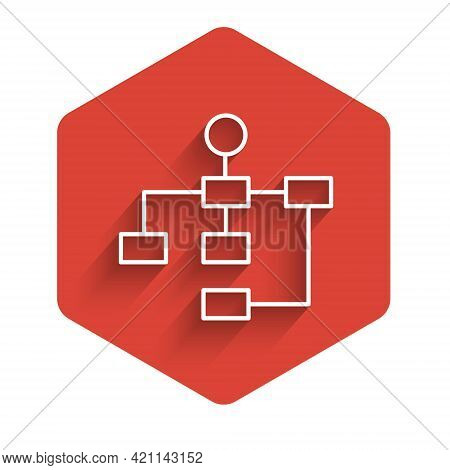 White Line Business Hierarchy Organogram Chart Infographics Icon Isolated With Long Shadow Backgroun
