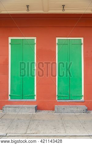 Green Doors In The French Quarter Of New Orleans La Usa