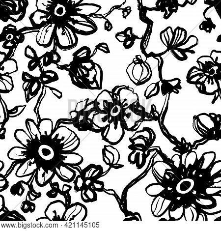 Black Daisies, Dahlias Flower Seamless Pattern On A White Background. Daisy Field. Ditsy Floral Patt