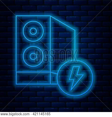 Glowing Neon Line Case Of Computer Icon Isolated On Brick Wall Background. Computer Server. Workstat