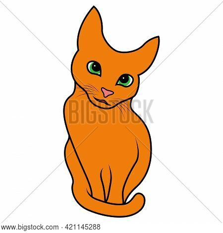 Abstract Funny Cat Looks With Interest, Colorful Vector Hand Drawing Isolated On White Background
