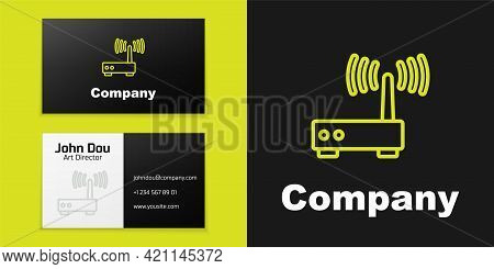 Logotype Line Router And Wi-fi Signal Icon Isolated On Black Background. Wireless Ethernet Modem Rou