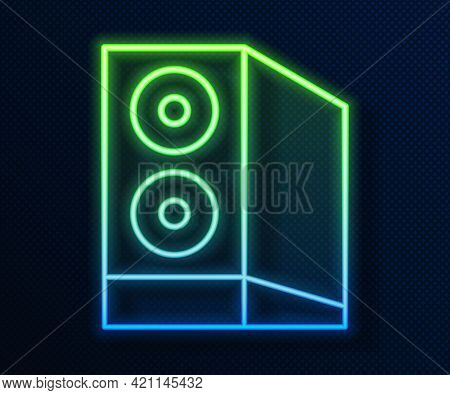 Glowing Neon Line Case Of Computer Icon Isolated On Blue Background. Computer Server. Workstation. V