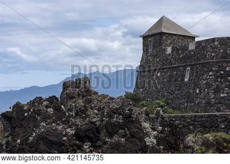 Aguarium At Porto Moniz, Madeira, Portugal. The Aqarium Building Has The Appearance Of An Old Fortre