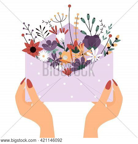 Hands Hold A Paper Envelope With Flowers. Summer Composition. Vector Greeting Card On White Backgrou