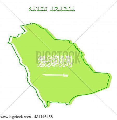 Saudi Arabia Map And Flag Vector Illustration Template