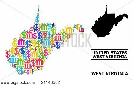 Bright Colored Bank And Economics Mosaic And Solid Map Of West Virginia State. Map Of West Virginia