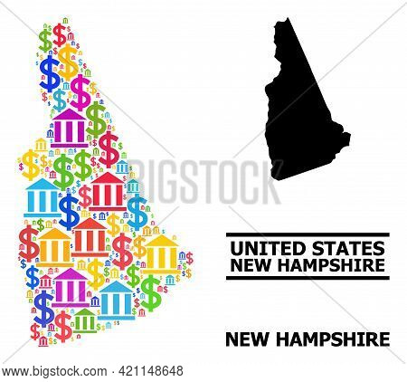 Colorful Financial And Dollar Mosaic And Solid Map Of New Hampshire State. Map Of New Hampshire Stat