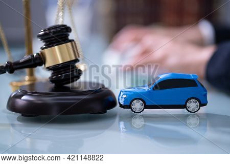 Lawyer And Car Insurance. Judge Legislation In Courtroom