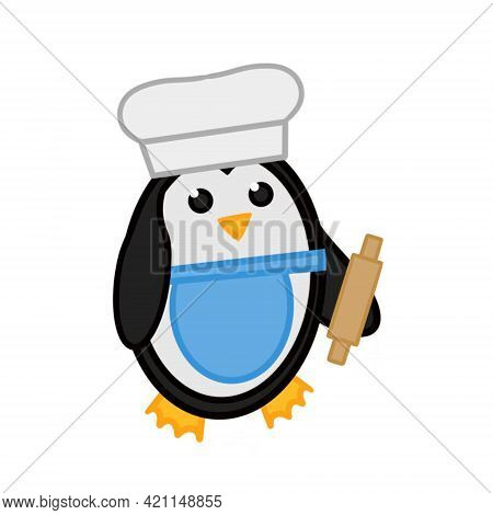 A Cute Penguin In A Chefs Cap With A Vest And A Rolling Pin. Vector Illustration. The Image Of A Pen