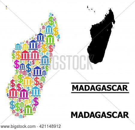 Colored Bank And Dollar Mosaic And Solid Map Of Madagascar Island. Map Of Madagascar Island Vector M