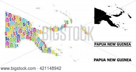 Vibrant Bank And Commerce Mosaic And Solid Map Of Papua New Guinea. Map Of Papua New Guinea Vector M