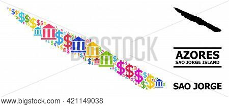 Colored Bank And Dollar Mosaic And Solid Map Of Sao Jorge Island. Map Of Sao Jorge Island Vector Mos