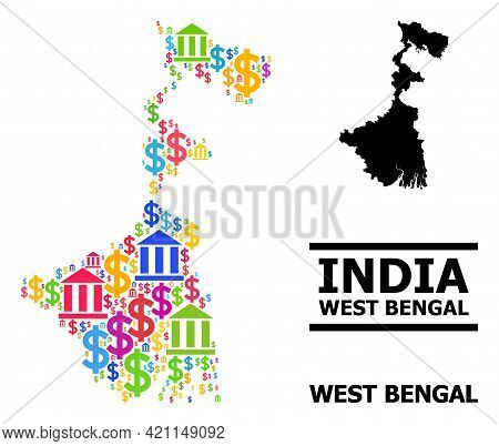 Colored Bank And Business Mosaic And Solid Map Of West Bengal State. Map Of West Bengal State Vector