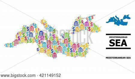 Multicolored Bank And Commercial Mosaic And Solid Map Of Mediterranean Sea. Map Of Mediterranean Sea