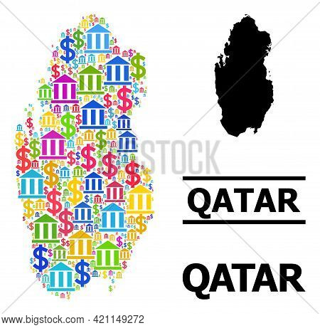 Bright Colored Bank And Money Mosaic And Solid Map Of Qatar. Map Of Qatar Vector Mosaic For Promotio